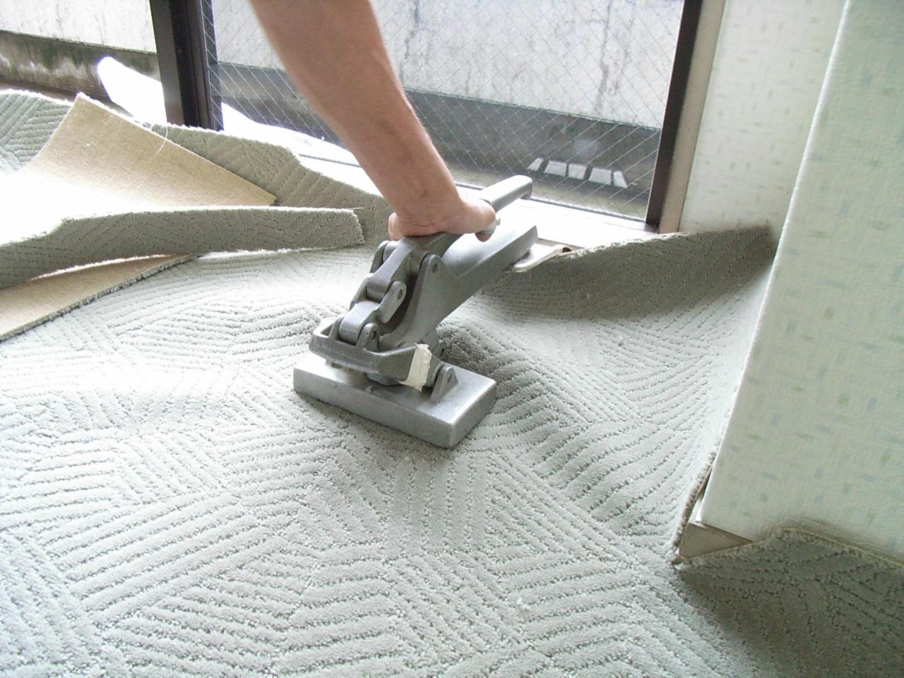 ストレッチャーにて絨毯のねじれを伸ばします